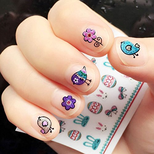 OULII Nail Stickers Glitter Powder Fun 3D Nail Stickers Decals Easter Party Favors DIY Valentine's Day gift for women girls, Pack of (Easter Decals)