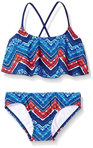 Kanu Surf Big Girls' Karlie Flounce Bikini Beach Sport 2-Piece Swimsuit, Kirsten Navy Chevron, 12