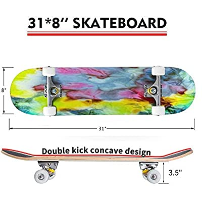 Classic Concave Skateboard Smoke Street Graffiti Psychedelic Creative Dirty Background Colorful Longboard Maple Deck Extreme Sports and Outdoors Double Kick Trick for Beginners and Professionals : Sports & Outdoors