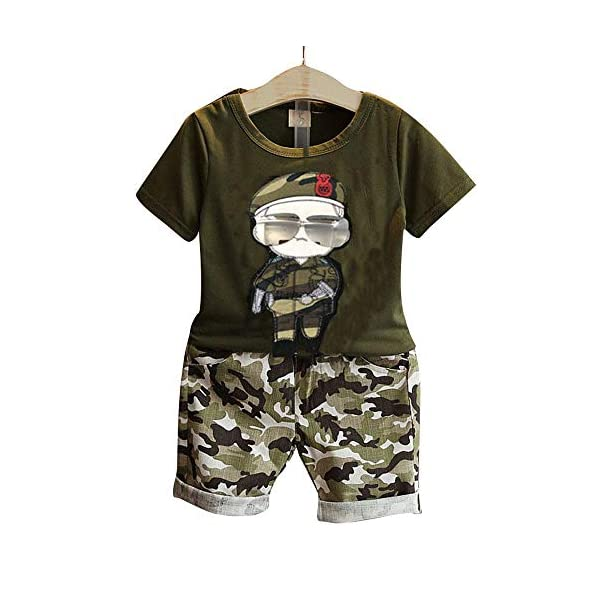 Aile Rabbit Hopscotch Baby Boys Cotton Camouflage Pattern T-Shirt and Shorts Set in Green Color