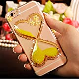 "iPhone 7 Plus Case, QKKE [Hourglass Diamond Flowers] Glitter Soft Gel Clear TPU Heart Shape Flowing Sparkle Liqiud Case Back Cover for iPhone 7 Plus 5.5"" (Hourglass Flower/Gold)"