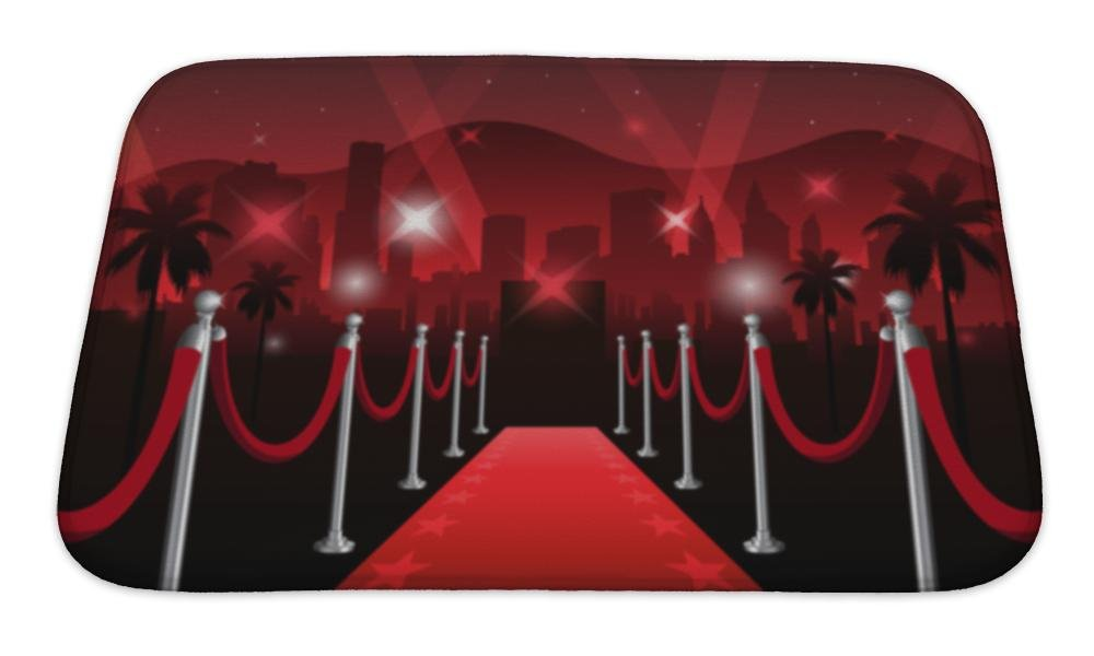 Gear New Bath Mat For Bathroom, Memory Foam Non Slip, Red Carpet Movie Premiere Elegant Event With Hollywood In, 24x17, 6422542GN