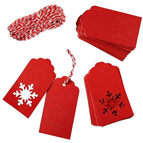 Aneco 150 Pieces Kraft Paper Tags Hang Labels Christmas Tags with 30 Meters Red-and-White Twine for Christmas Wedding Gift Favor DIY Arts and Crafts and Holiday,Snowflake Shape