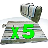 [Pack of 5] XXX-Large 70x80'' Picnic Blanket Waterproof bottom Soft top Polar Fleece extra large outdoor travel water sand resistant camping Stripe fold perfect for grass, tablecloth or handy sandproof