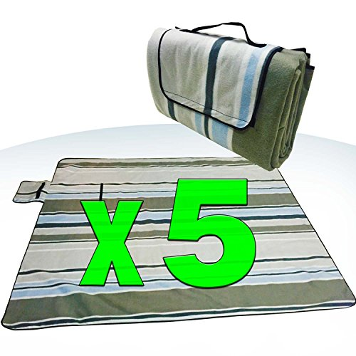 [Pack of 5] XXX-Large 70x80'' Picnic Blanket Waterproof bottom Soft top Polar Fleece extra large outdoor travel water sand resistant camping Stripe fold perfect for grass, tablecloth or handy sandproof by Spencer&Webb