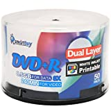Smart Buy 50 Pack Dvd+r Dl 8.5gb 8x DVD Plus R Double Layer Printable White Inkjet Blank Data Recordable Media 50 Discs Spindle