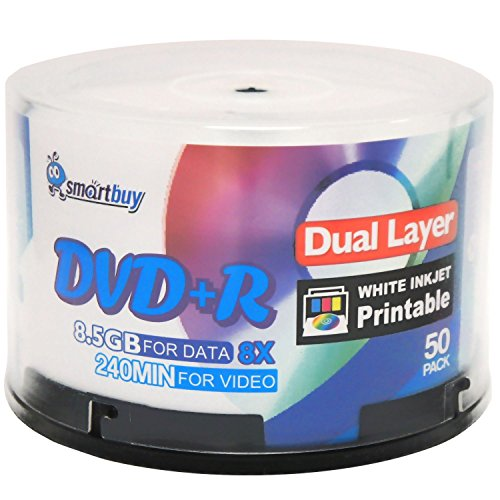 Smart Buy 50 Pack DVD+r Dl 8.5gb 8X DVD Plus R Double Layer Printable White Inkjet Blank Data Recordable Media 50 Discs - Layer Inkjet