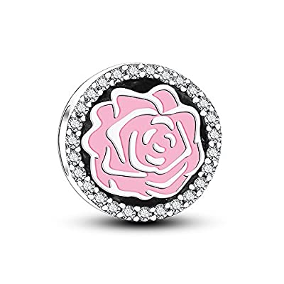 Glamulet 925 Sterling Silver Pinky Rose Charms with Cubic Zirconia, Charms for bracelet, Best Gift for Mom, Girls by Glamulet