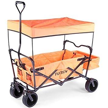 FUXTEC carretilla plegable FX-BW100 Naranja plegable con techo, freno en rueda delantera, ruedas para playa, bolsillo trasero, adecuado para niños – El ...