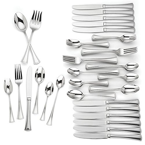 Lenox Colonial 74 Piece Flatware Set Service For 12 Stainless Steel 18/10 Beaded