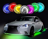 "Zento Deals 7 Colors LED Undercar Glow Underbody System Neon Lights Kit 36"" x 2 & 48"" x 2 w/ Sound Active Function and Wireless Remote Control"