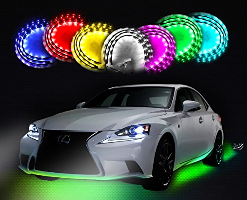 Zento Deals 7 Colors LED Undercar Glow Underbody System Neon Lights Kit 36