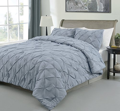 Master 2 Piece TWIN Size Pich Pleat Comforter Set Stone Blue Color - Decorative Pintuck Bed Cover Set for all Season by Cozy Beddings - Bed Stone
