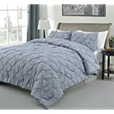 Master 3 Piece QUEEN Size Pich Pleat Comforter Set Stone Blue Color - Decorative Pintuck Bed Cover Set for all Season by Cozy Beddings