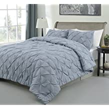 Master 3 Piece FULL Size Pich Pleat Comforter Set Stone Blue Color - Decorative Pintuck Bed Cover Set for all Season by Cozy Beddings