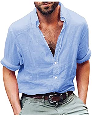 Mens Plus Size Linen Hippie Shirts Summer Button up Long Sleeve Shirts
