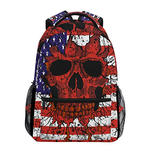 American Retro Bags - XLING Backpacks Retro Skull USA Flag Multi Function School College Canvas Book Bag Travel Hiking Camping Canvas Daypack