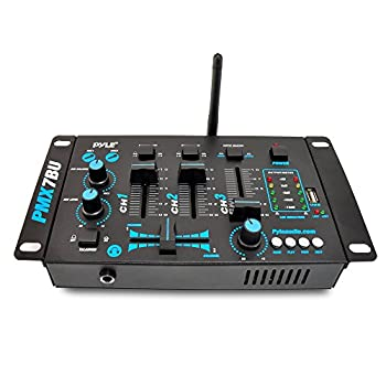 Pyle Pmx7bu Bluetooth 3-channel Dj Mp3 Mixer, Mic-talkover, Usb Flash Reader, Dual Rca & Microphone Inputs, Headphone Jack 1