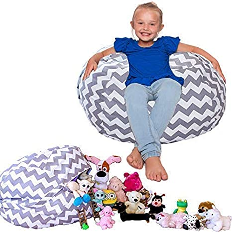 e6eb6dc866d Amazon.com  Lilly s Love Popular Stuffed Animal Bean Bag Chevron Storage  Chair. Clean Rooms Faster  Kitchen   Dining