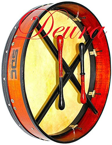 DEURA ROSEWOOD TUNABLE BODHRAN DRUM Irish Celtic 18 Inch Free CASE and 2 Tippers