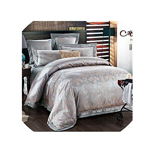 (4/6 Pcs Luxury White Golden Red King Queen Size Wedding Bedding Sets Satin Cotton Jacquard Bed Sheet Duvet Cover Set Pillowcases,5,King Size 4Pcs)