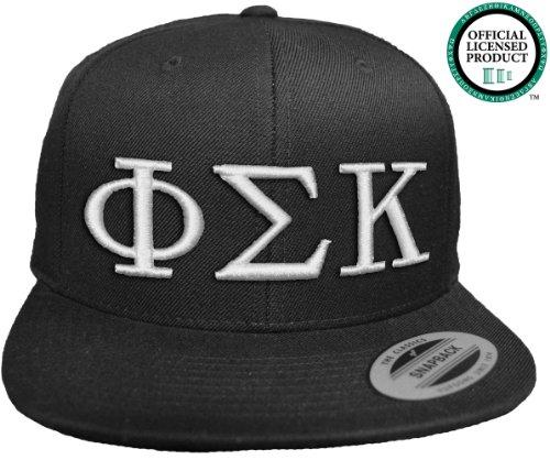 PHI SIGMA KAPPA Flat Brim Snapback Hat White Letters / PSK | Phi Sig Frat | Fraternity Cap