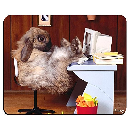 - Funny Cute Animal Rabbit Bunny Personalized Custom Gaming Mouse Pad Rubber Durable Computer Desk Stationery Accessories Mouse Pads For Gift MP0534