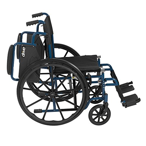 Drive Medical Blue Streak Wheelchair with Flip Back Desk Arms, Swing Away Footrests, 18'' Seat by Drive Medical (Image #2)