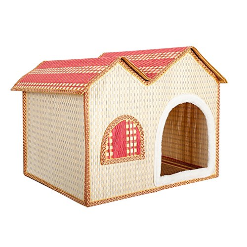 IZERUO Natural Bamboo Dog House Cave Shelter Retreat,Portable Folding Kennel for Cat,Kitty,or Puppy in Summer Use (Pink)