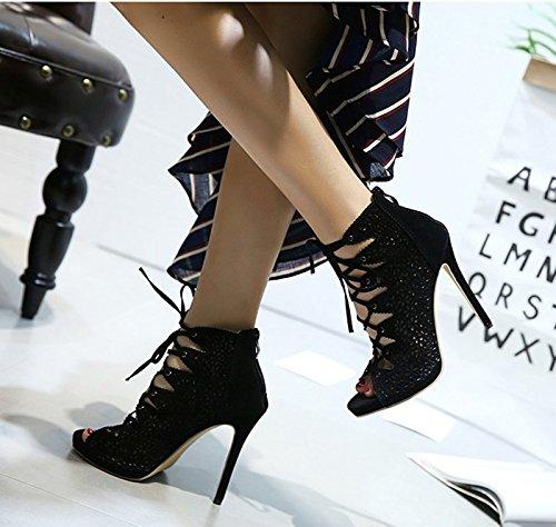 Tep De six Noires Super Des Sandales 5Cm Creuse KHSKX Femelle Bouche Mesh L'Été Poisson 8 Bien À Bottes Chaussures Talons Avec Thirty xwYZBI1q