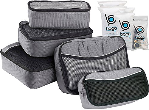 Like Luggage (5 Packing Cubes For Travel Luggage or Suitcase + 6 Toiletry Zip Bags Organizer (Gray))