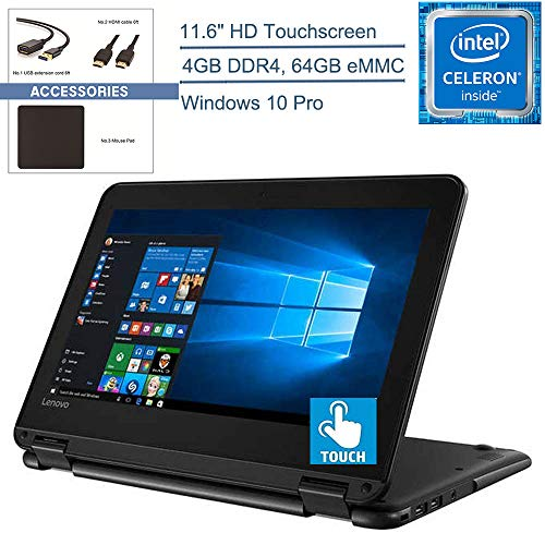 2020 Lenovo 300e Winbook 11 2-in-1 11.6″ Touchscreen Laptop Computer, Intel Quad-Core Celeron N3450 up to 2.2GHz, 4GB DDR4 RAM, 64GB eMMC, 802.11ac WiFi, Window 10 Pro, YZAKKA Accessories
