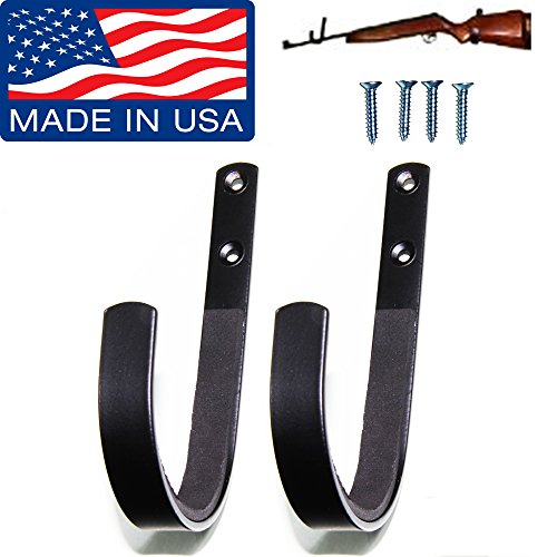 Gun Rack Shotgun Hooks Rifle Hangers Archery Bow Felt Lined Wall Mount Storage (Handmade in the U.S.A.)