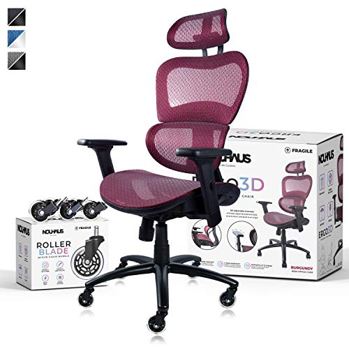 NOUHAUS Ergo3D Ergonomic Office Chair – Rolling Desk Chair with 4D Adjustable Armrest, 3D Lumbar Support and Extra Blade Wheels, Mesh Computer Chair, Gaming Chairs, Executive Swivel Chair (Burgundy)