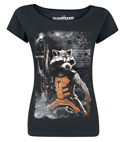 Guardians-Of-The-Galaxy-Rocket-Camiseta-Mujer-Negro