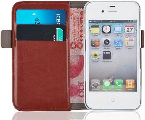 JAMMYLIZARD Funda iPhone 4 4S – Carcasa iPhone 4 4S Funda Estilo Libro Deluxe Range Tarjetas Cierre magnético, marrón
