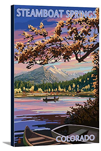 Steamboat Springs, Colorado - Twilight Lake Scene (24x36 Gallery Wrapped Stretched Canvas)