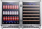 EdgeStar CWBV14253 48 Inch Wide 53 Bottle 148 Can Built-In Side-by-Side Wine and Beverage Center
