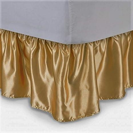 """gorgeoushomelinen 1 pieza dorado satinado sólido – brillante sedoso suave cama falda 14 """"de"""