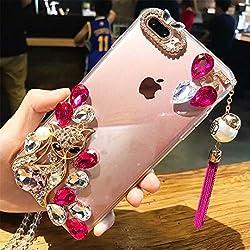 Dark Pink Rhinestone With TPU Mobile Case