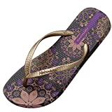 Hotmarzz Women's Flip Flops Bohemia Floral Summer Sandals Beach Slippers Size 7 B(M) US / 38 EU / 39 CN, Purple
