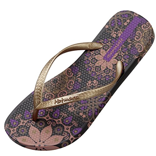 Hotmarzz Women's Flip Flops Bohemia Floral Summer Sandals Beach Slippers Size 7...