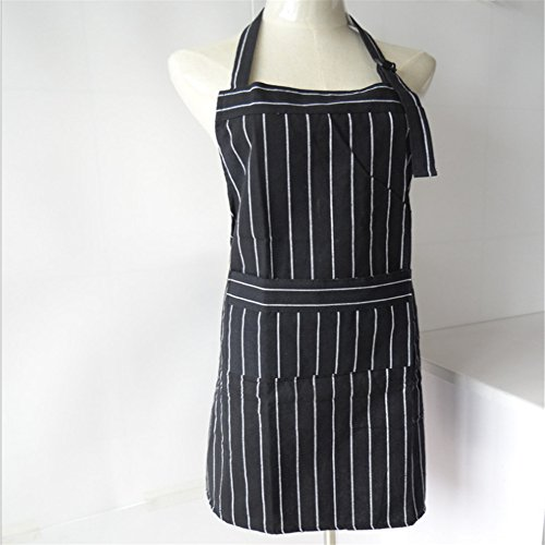 Cowboy Bartender Costume (Black and white stripe cotton cloth art can adjust the household kitchen adult apron with the shoulder belt (65cm75cm))