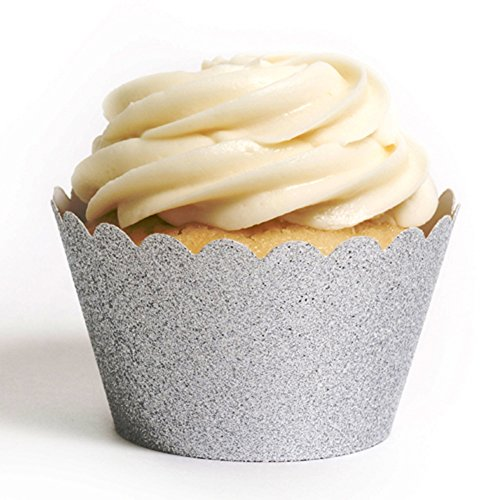 Dress My Cupcake Standard Reusable Glitter Cupcake Wrappers, Set of 50 (Silver)