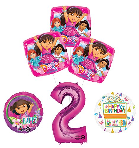 Explorer 2 Balloons - Dora the Explorer 2nd Birthday Party Supplies and Balloon Bouquet Decorations