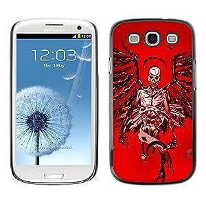 MobileHut / Samsung Galaxy S3 I9300 / Angel Death Red Blood Wings Skull / Delgado Negro Plástico caso cubierta Shell Armor Funda Case Cover