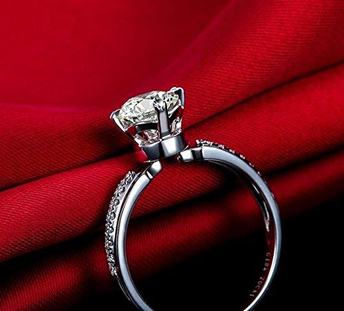 Gowe Amour Marque Naturel véritable 1.12CT Certifié H/SI Diamant Bague de fiançailles Round Cut Or blanc 18K