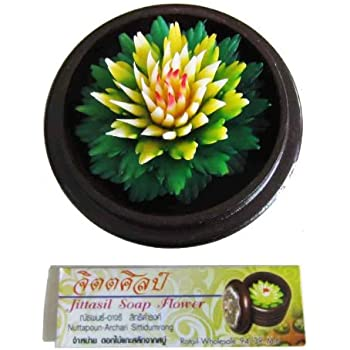 Jittasil Thai Hand-Carved Soap Flower, 4 Inch Scented Soap Carving Gift-Set, Dahlia In Decorative Wood Case