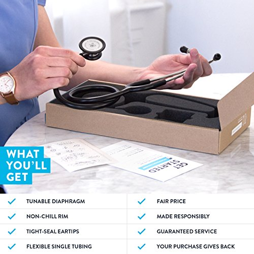 Clinical Grade Dual-Head Stethoscope by GreaterGoods. Classic Lightweight Design for The Medical Professional (Black) by Greater Goods (Image #3)