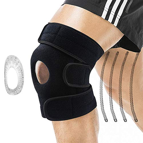 Oliomp Knee Brace Open Patella Stabilizer & Patella Gel Pads for Knee Support Knee Pads Support, Relieves ACL, LCL, MCL, Meniscus Tear, Arthritis, Tendonitis Pain, Adjustable Straps Breathable (Black)